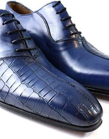 Handmade Kay Blue Half Crocodile Italian Leather Dress Shoes/Oxford Shoes