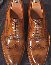 Men's Tobacco Brown Oxford Full Brogue Toe Wingtip Genuine Leather Laceup Shoes