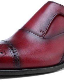 New Luxury Genuine Leather Men's Monk Strap Oxfords Handmade Formal Dress Semi Brogue Shoes