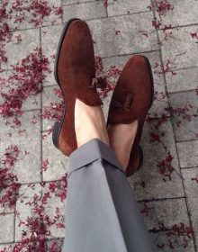 Men's Handmade brown suede loafers, men loafers, casual shoes, driving shoes