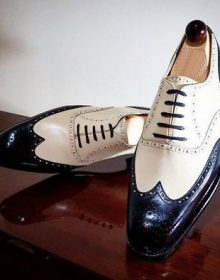 Two Tone Black White Handmade Men Oxford Wing Tip Formal Dress Classical Shoes