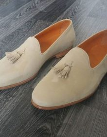 Men's Handmade beige suede loafers, men loafers, casual shoes, driving shoes