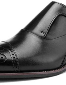 New Luxury Genuine Leather Men's Monk Strap Black Oxfords Handmade Formal Dress Semi Brogue Shoes