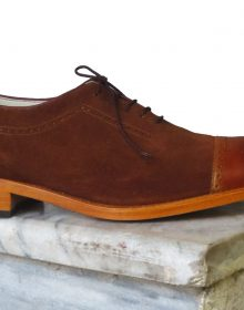 Superior Brown Suede Leather Cap Toe Tan Sole Lace Up Oxford Men Shoes