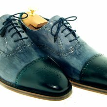 Men NEW HANDMADE LUXURY GREY & GREEN TOE BROGUE GOODYEAR WELTED SHOES