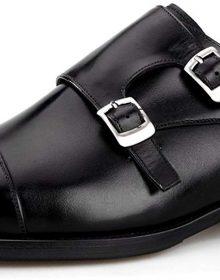 Men's Handmade Genuine Leather Double Monk Strap Slip On Oxfords Dress Shoes