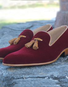 New Men Maroon Suede Loafer Brown Tassels & Outline Genuine Leather Shoes