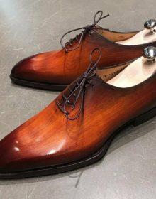 Men's Oxford Cognac Patina Whole Cut Premium Quality Laceup Leather Shoes