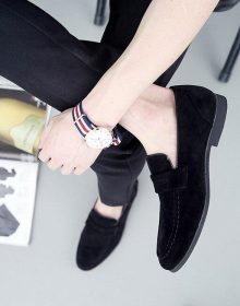 New Handmade Leather Black Loafer Shoes Pointed Toe Tassels Party Dress Shoes