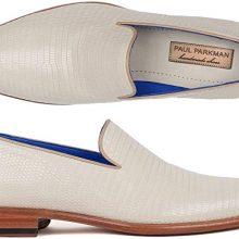 Men's Handmade Mens Genuine Iguana Loafers White Cream Loafer Shoes