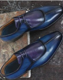 Men Handmade Purplish Blue Leather Shoes,Men's Split Toe Lace Up Designing Shoes