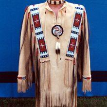 Mens Native American Buckskin Beige Buffalo Suede Leather POWWOW War Shirt