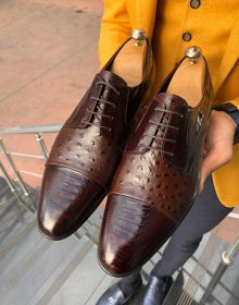 New Handmade Men's Brown Lace up Calf-Skin Leather Oxford Shoes