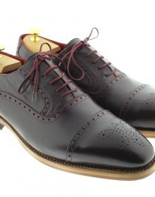 NEW DARK BORDO CLASSIC HANDMADE OXFORDS SHOES