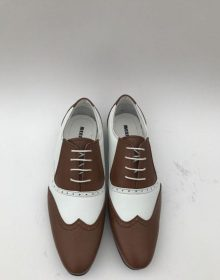 New Handmade Men's Brown ~ White Wingtip ~ Spectator Lace Up Style Two Toned Dress Shoes