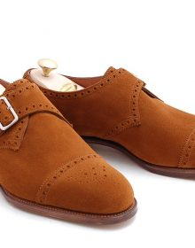 New Men's handmade Brogue Cap Toe Single Buckle Strap Suede Leather Wear Monk Sh