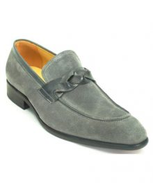 New Handmade Men's Fashionable Slip On Genuine Suede Leather Trim Grey Color Loafer Shoes