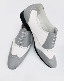 New Handmade Men's Grey Leather Two Toned Wing Tip Oxford Lace up Shoe