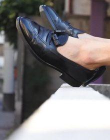 Handmade Men's black tassel loafers,summer casual men's leather loafers