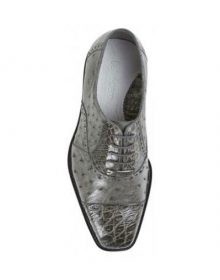New Handmade Men's Grey Genuine Ostrich / Crocodile skin Shoes