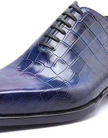 New Handmade Men's Snake Skin Texture Blue Office Fashion Formal Wedding Party Oxford Shoes