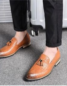 New Handmade Men Comfortable Loafers Tassel Yellow Oxford Shoes