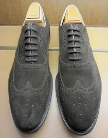 Men's Handmade Gray Suede Lace Up Shoes, Men Dress Formal Wing Tip Brogue Shoes
