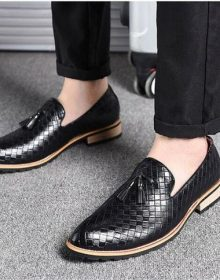 New Handmade Men Comfortable Loafers Tassel Black Oxford Shoes