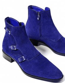 New Blue High Ankle Suede Leather Monk Triple Buckle Straps Men Wear Shoes