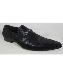 New Handmade Men's Leather In Black Metal Accent Dress Shoe