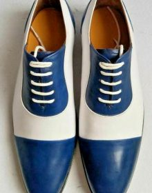 New Handmade Men's Blue and White Two Tone Dress/Formal Oxford Leather Shoes