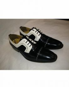 New Handmade Men's Two Tone Tuxedo Lace Up Black Dress Shoes