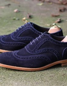 Men's Handmade Blue Suede Lace Up Shoes, Wing Tip Brogue Dress Formal Shoes