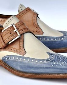 Blue Beige Brown Three Tone Genuine Premium Leather Men Handmade Monk Shoes