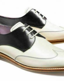 Handmade Men's Formal White And Black Leather Wingtip Lace Up Spectator Shoes
