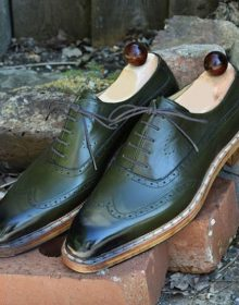 New Handmade Men's Wing Tip Brogue Shoes, Men's Green Leather Lace Up Shoes