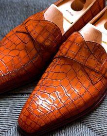 New Men's Leather Shoes, Formal Crocodile Texture Leather Men derby Brown Shoe