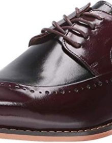 New Handmade Men's Burgundy & Black Buffalo Leather Lace-Up Dress Oxford Shoes