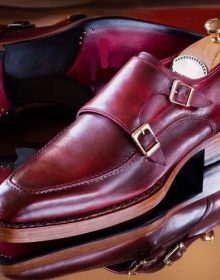 Handmade Maroon Monk Double Buckle Strap Apron Toe Stylish Leather Men Shoes