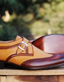 Handmade men's Tan Brown Wingtip Monk Leather Shoes, Men's Monk Dress Shoes