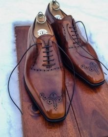 Handmade Brogue Brown Office Men's Shoes Collection