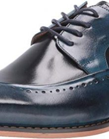 New Handmade Men's Cobalt & Navy Buffalo Leather Lace-Up Dress Oxford Shoes