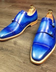 Blue Monk Double Buckle Strap Natural Color Sole Rounded Cap Toe Leather Shoes