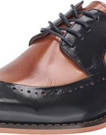 New Handmade Men's Tan & Navy Buffalo Leather Lace-Up Dress Oxford Shoes