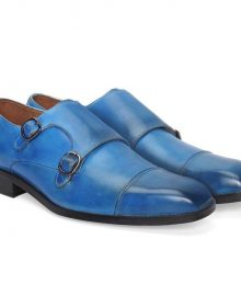 Blue Monk Double Buckle Strap Burnished Cap Toe Black Sole Vintage Leather Shoes