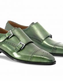 Green Monk Double Buckle Strap Brogue Cap Toe Black Sole Genuine Leather Shoes