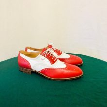 Men Two Tone Red White Cont Wing Tip Brogue Toe Genuine Leather Laceup Shoes
