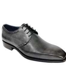 New Handmade Grey Calf-Skin Leather Oxfords Shoes