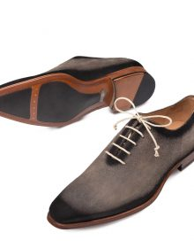 New Handmade Mens Italian Suede Grey Oxfords Shoes