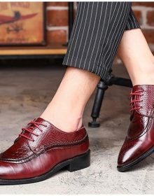 New Handmade Men Dress Shoe Pointed Oxfords Shoes Lace Up Formal Shoes